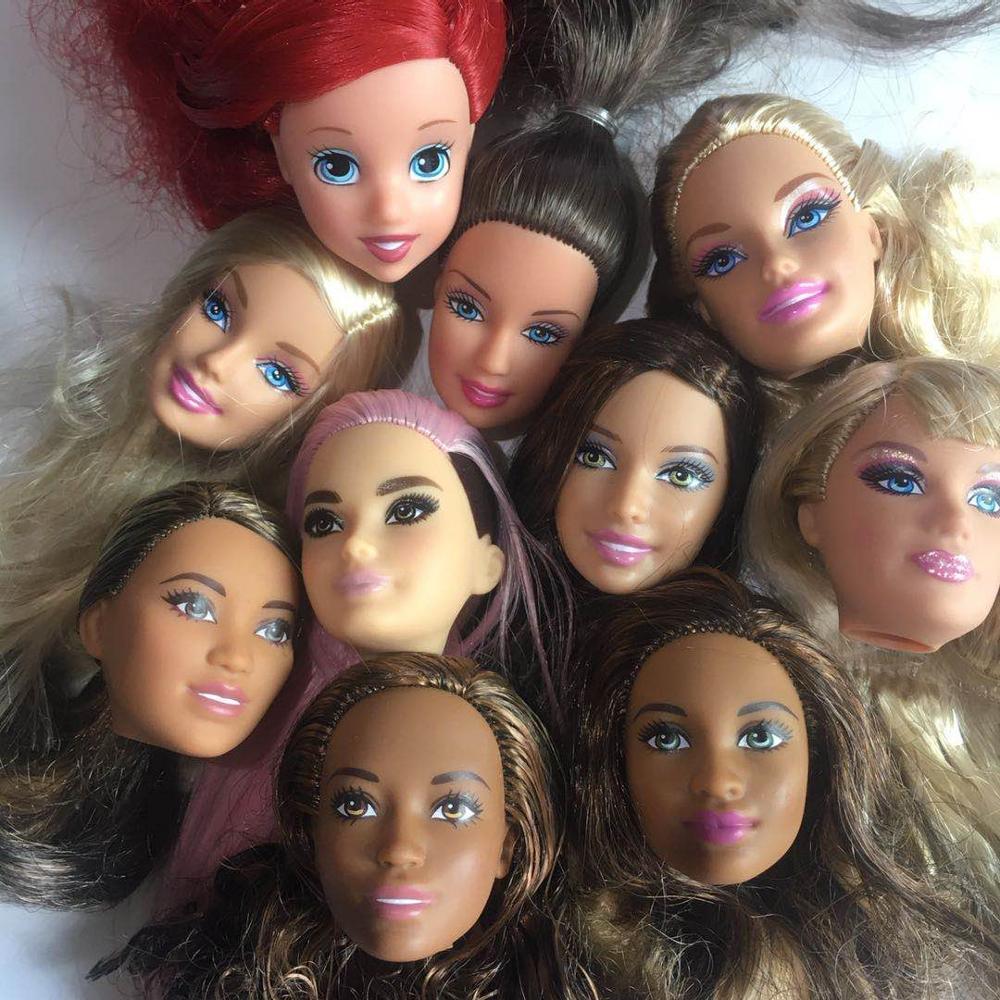 Raro Original buena muñeca cabeza juguetes de muñecas princesas piezas DIY juguete blanco muñeca piel obscura cabezas azul verde rosa Pelo Largo muñeca juguete