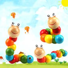 أطفال دودة اللعب الملونة خشبية دودة لغز الاطفال التعلم المبكر لعبة تعليمية لعبة الاصبع للأطفال مونتيسوري هدية