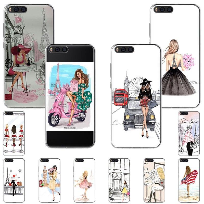 Eiffel cidade menina Capa de Silicone Para Xiaomi PocophoneF1 9T 9 8 SE A3 Lite A2 Ir Mix3 A1 K20 7A S2 Redmi Nota 8T 4X 5 6 7 Pro