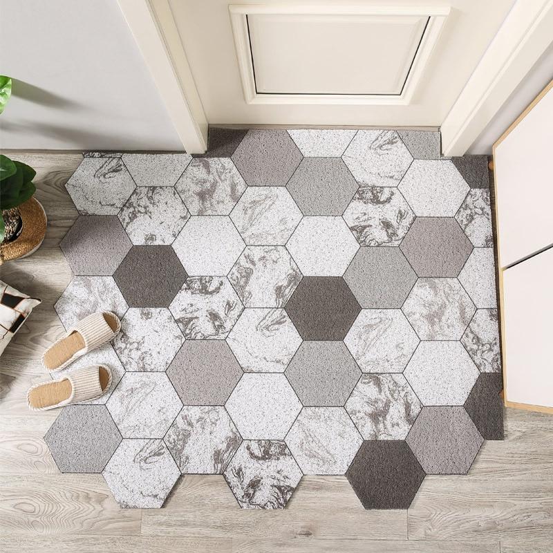 Nordic Cut Printed Doormat Carpet Home PVC Silk Loop Floor Entrance Mats Carpet Living Room Bedroom Bathroom Non-Slip Door Mats