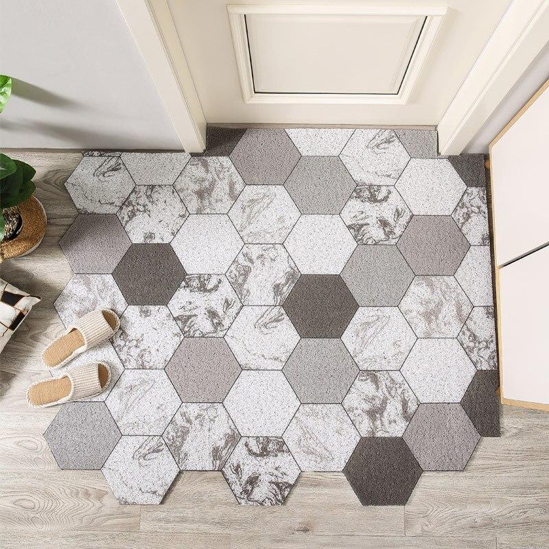 Nordic corte impresso capacho tapete casa pvc laço de seda piso tapetes de entrada tapete sala de estar quarto banheiro antiderrapante tapetes de porta
