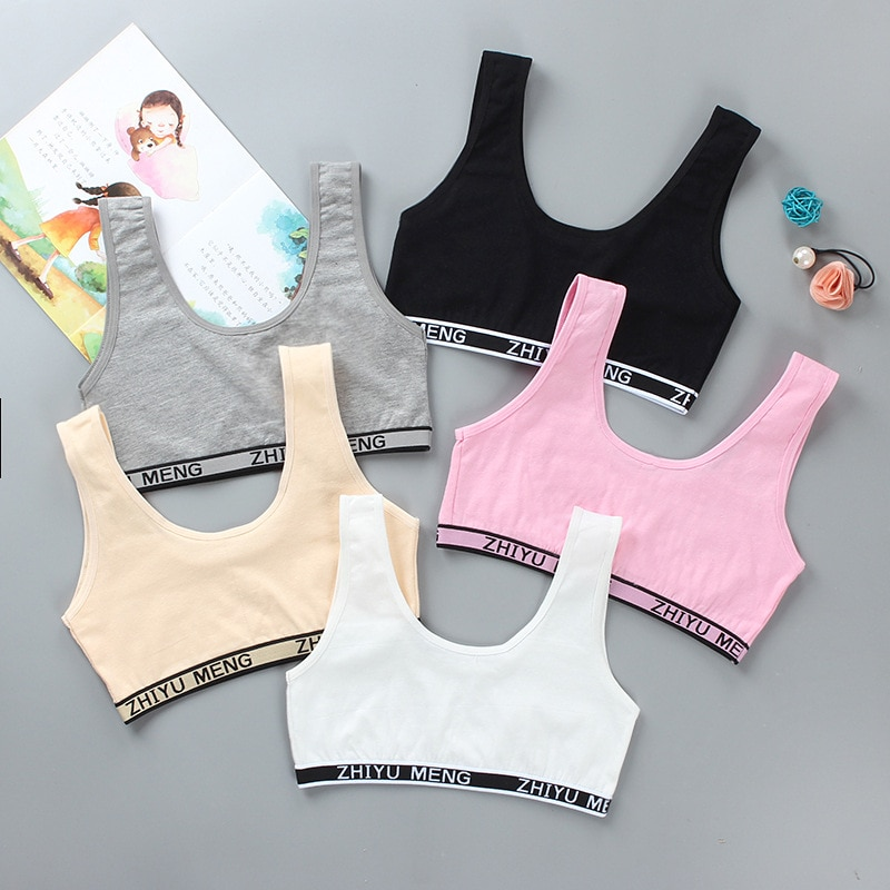 10Pc/lot Kids Cotton Sports Training Bra Underwear Girls Training Bra Crop Top 8-14 Years