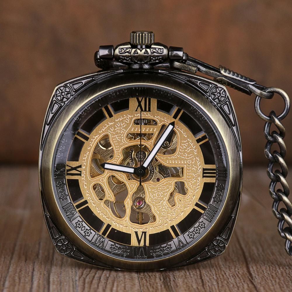 Relojes de bolsillo mecánicos de cara abierta superior relojes de bolsillo cuadrados de esqueleto de viento a mano Steampunk números romanos reloj colgante collar