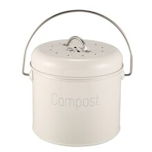 Kompost Bin 3L-Edelstahl Küche Kompost Bin-Küche Komposter für Lebensmittel Abfall-Kohle Filter