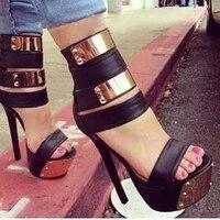 high heeled sandals bag heel toe female roman sandals metal rivet waterproof platform high heeled shoes