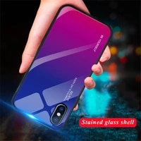 9h gradient tempered glass case for iphone 7 xs max xr x cover colorful glossy glass phone case for iphone 7 8 6 6s plus fundas