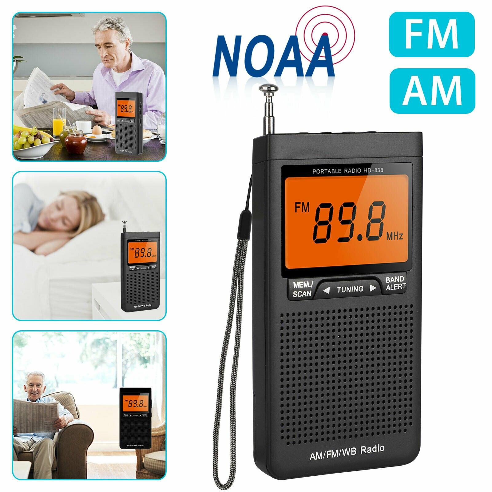 راديو جيب Am Fm ، مكبر صوت محمول ، راديو طقس صغير ، مستقبل هوائي بحث تلقائي مع مقبس سماعة رأس ، راديو طوارئ خارجي