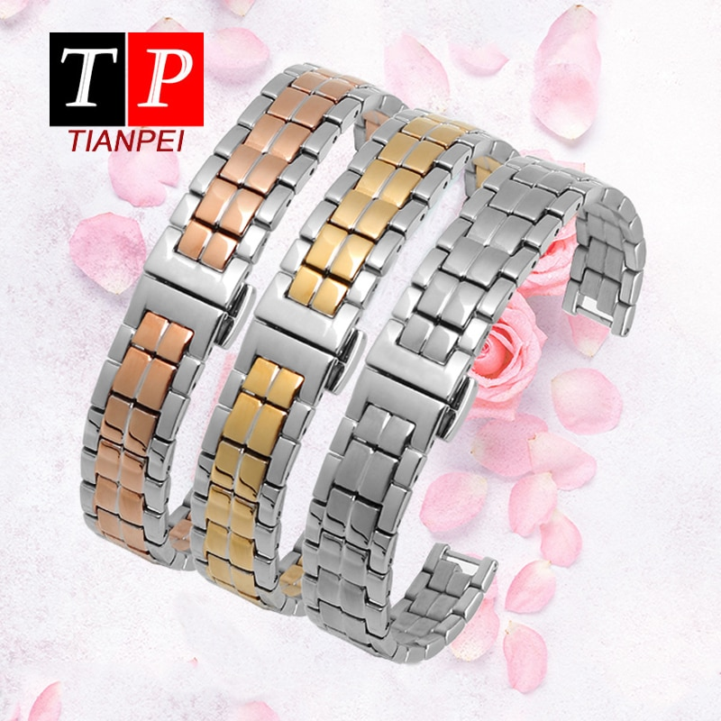 Tissot12mm t094 steel stri Metal watch band Genera Watch Strap fashion rose Stainless Steel Watch Band Replacement Strap women watch strap new accessory watch strap solid stainless steel fashion luxury women metal strap bands for fitbit ionic strap