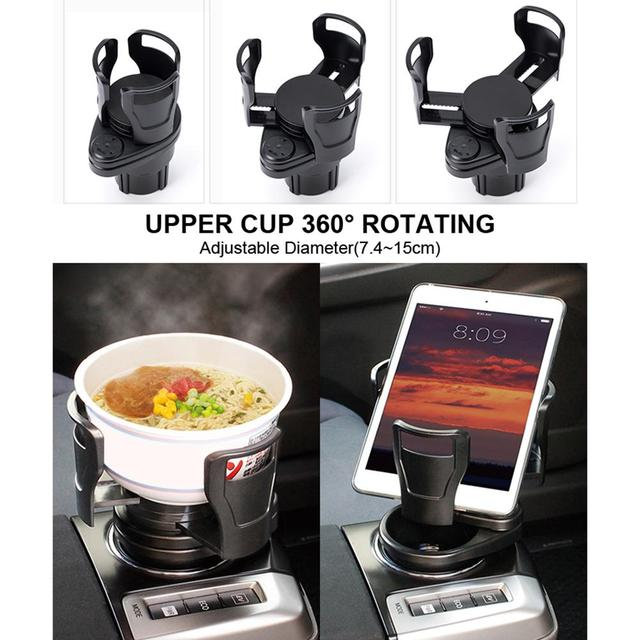 360 Degree Rotating 2 In 1 Cup Holder Vehicle-mounted Slip-proof Water Car Cup Holder Multifunctional Dual  Auto 4