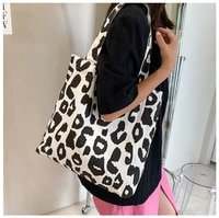 new korean canvas leopard print bag fashion casual large capacity tote bag student single shoulder bag female handbags