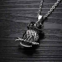 animal owl branch shape pendant necklace mens necklace fashion metal rhinestone inlaid necklace pendant accessory party jewelry