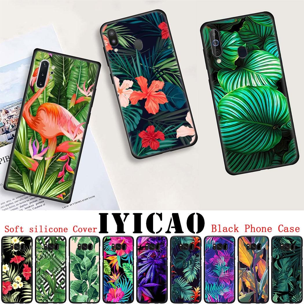 Funda de silicona suave para Samsung Note 10 S10 Lite S20 Plus Ultra A91 A81 A71 A51 funda de teléfono negra hoja de planta verde Tropical