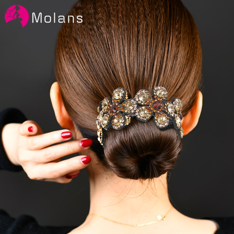 aliexpress - Molans Crystal Rhinestone Hair Claws for Women Flower Hair Clips Barrettes Crab Ponytail Holder Hairpins Bands Hair Accessories