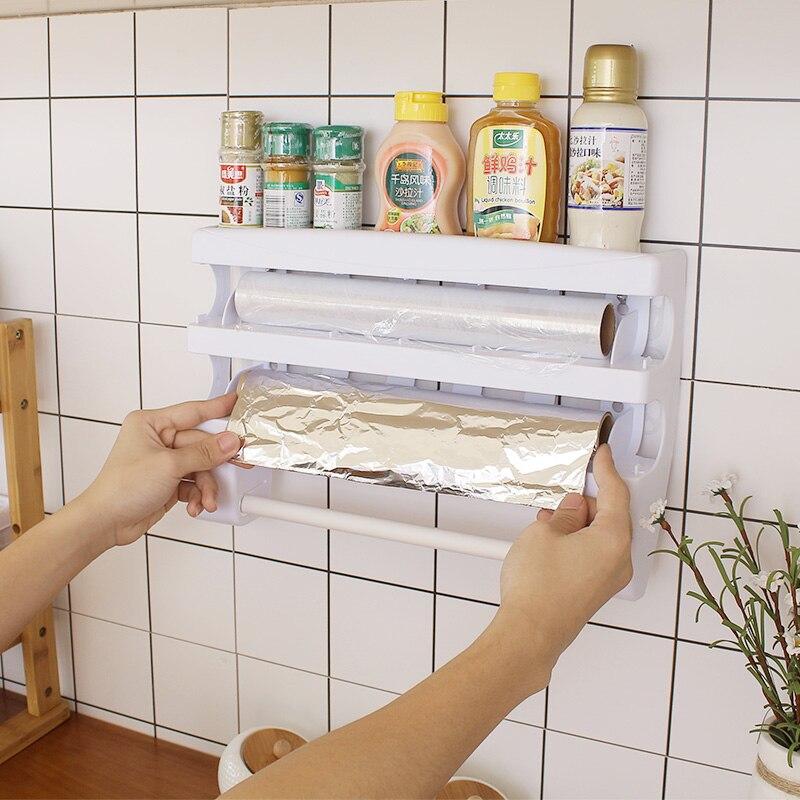 Organizador de cocina, Film transparente para botella de salsa, organizador de almacenamiento, toallero de papel de aluminio, estante de herramientas de corte de plástico para envolver