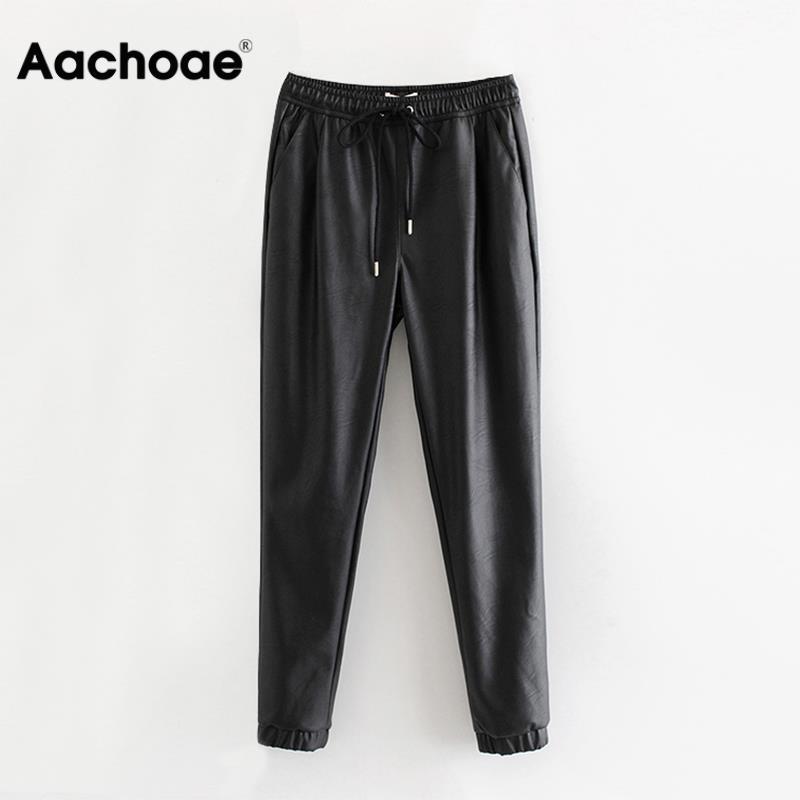 Aachoae mujeres negro Chic PU pantalones de cuero elástico de longitud larga elegante Bottoms corbatas bolsillos básica pantalones femeninos