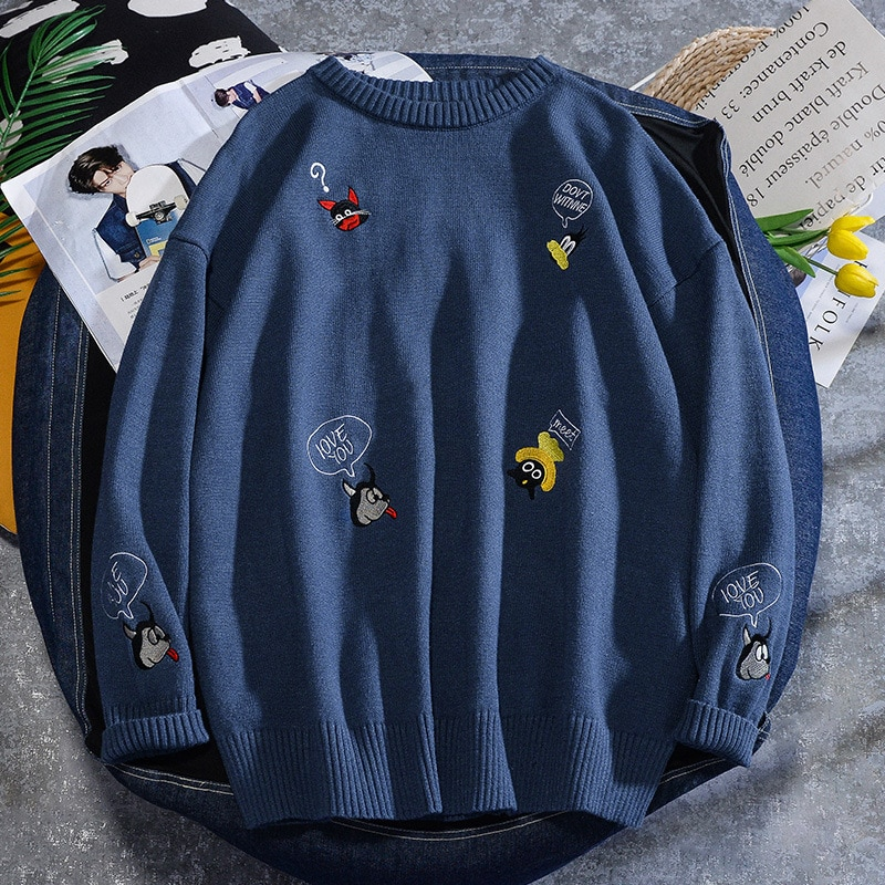 Sweater Men Harajuku Hip Hop Streetwear Men Clothing O-neck Oversize Fashion Casual Couple Male Student Sweaters Knitted Shirt