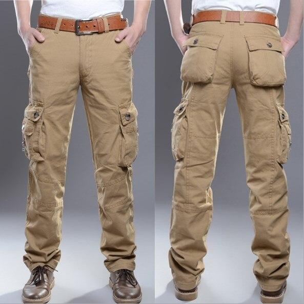 Тактические карго Брюки мужские армейские зеленые военные брюки из хлопка, много карманов мужские повседневные брюки 2019 размера плюс мужск...