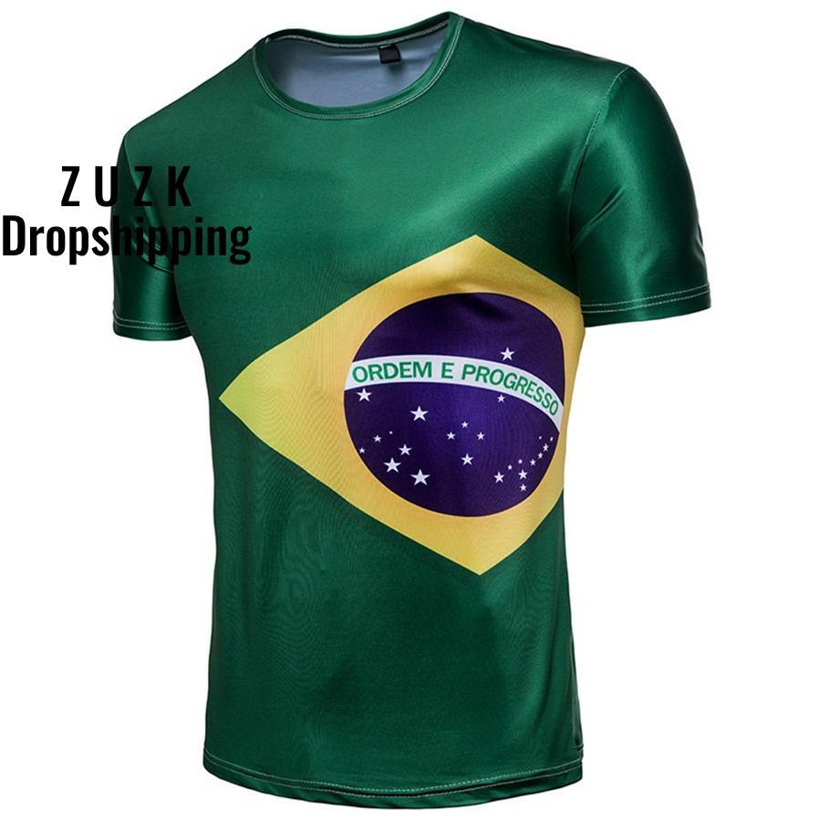 DropshippingNew Theme Tshirts Mens Tshirt Men Casual Short Sleeve O-neck Male Tee Shirt Print Brazil Fans T-shirt
