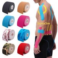 Cinta de kinesiología de 5 tamaños, vendaje muscular deportivo, cinta adhesiva elástica de algodón para lesiones por tensión, pegatinas para aliviar el dolor muscular de rodilla