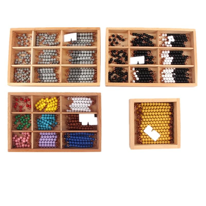 Бусины Монтессори с золотыми бусинами для лестницы, обучающий инструмент для чисел, Детские Игрушки для раннего развития, детские игрушки д...