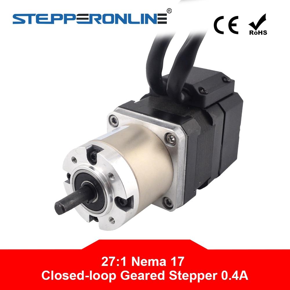 Motor paso a paso Nema 17 con engranaje cerrado L = 34mm relación de engranaje 271 codificador 1000CPR 0.40A Nema17 Motor paso