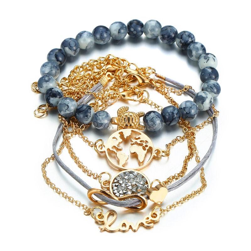 5 Pcs/set Heart Earth Map Bead Charm Bracelets for Women Boho Crystal Stone Link Chain Jewelry Wholesale