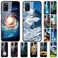 case for oppo a52 back phone cover black silicone bumper with tempered glass series 2