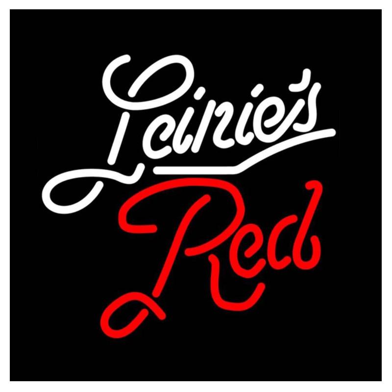 Leinies-أنبوب زجاجي أحمر مصنوع يدويًا ، شريط ، KTV ، مطعم ، متجر ، شركة ، إعلان عن زخرفة ، علامة نيون ، 16 بوصة × 16 بوصة