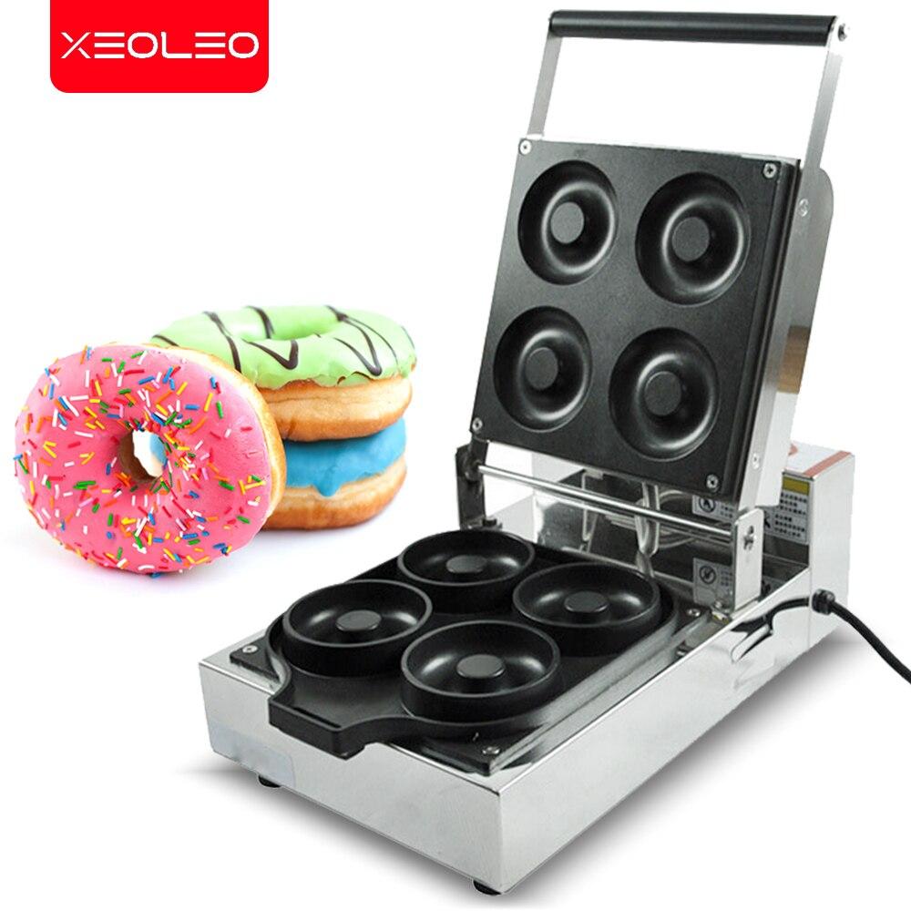Xeoleo elétrica máquina do fabricante de donut 4 moldes/1150w máquina fabricante de bolo comercial bolo donut waffle que faz a máquina aço inoxidável
