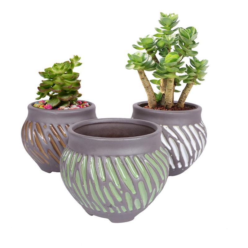 3 uds cerámica creativa Durable maceta ornamento contenedor suculento Bonsai decoración para oficina hogar jardín ventana