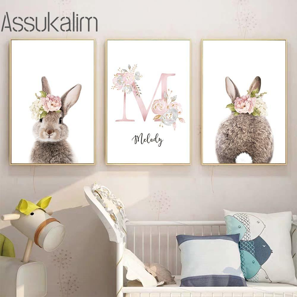 Rabbit Poster Custom Name Posters Ballet Girl Canvas Print Nursery Wall Art Painting Nordic Pictures Baby Room Decor