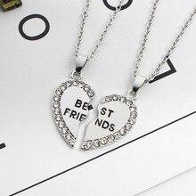 Collier en forme de cœur pour petites amies en version coréenne, en cristal incrusté, pour bonne amie, en forme de lettres, détachable