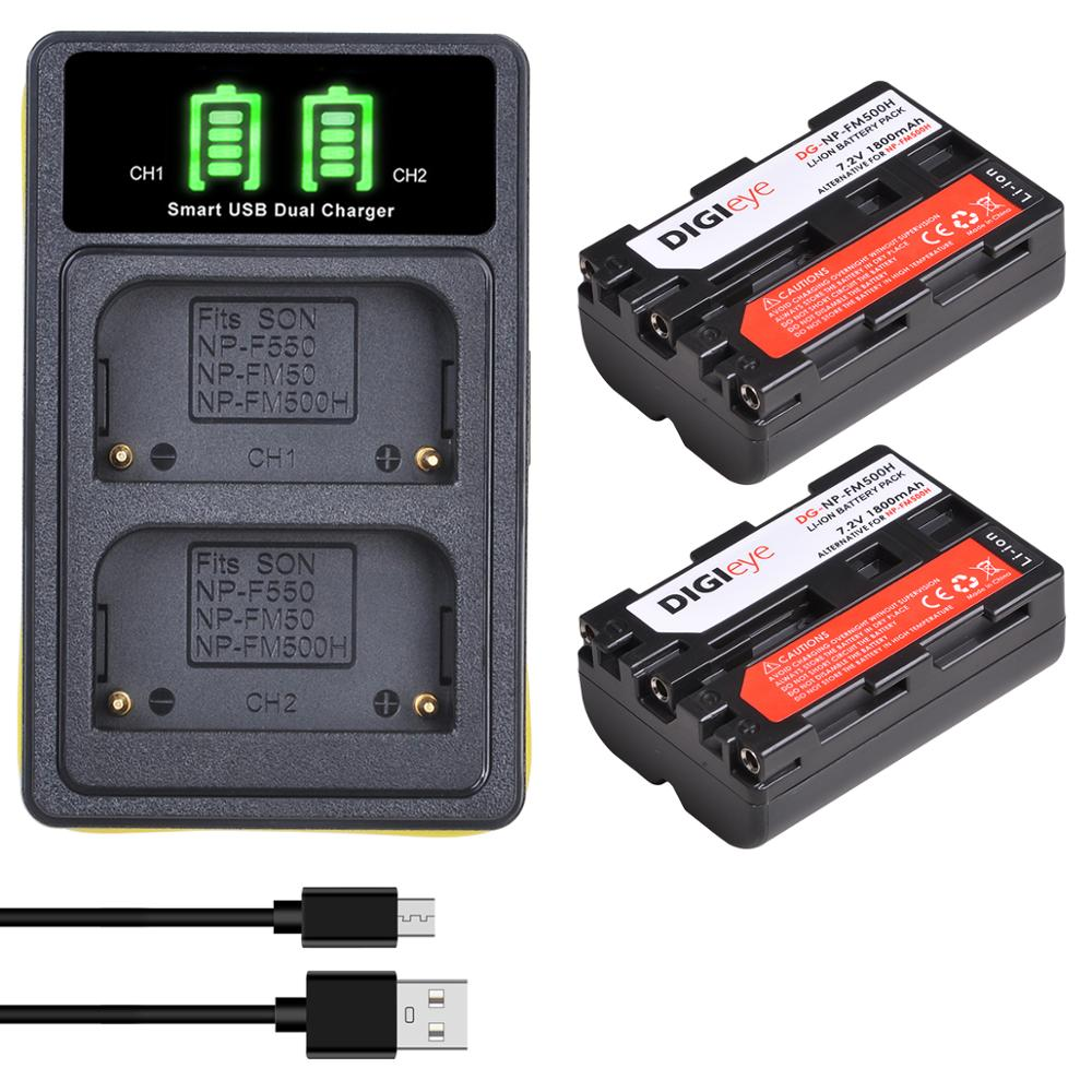 NP-FM500H NPFM500H NP FM500H batería + LED cargador Dual para Sony Alpha...
