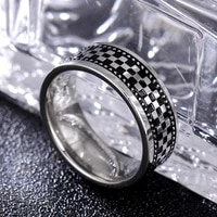 fashion simple black square plaid cross ring for men fine silver color womens rings friendship jewelry accessories gifts