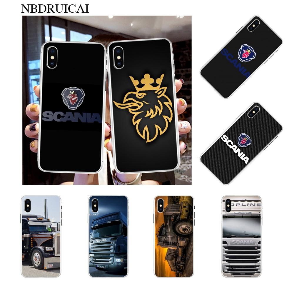 Nbdruicai scania caminhão logotipo bling bonito caso de telefone para iphone 11 pro xs max 8 7 6 s plus x 5S se xr