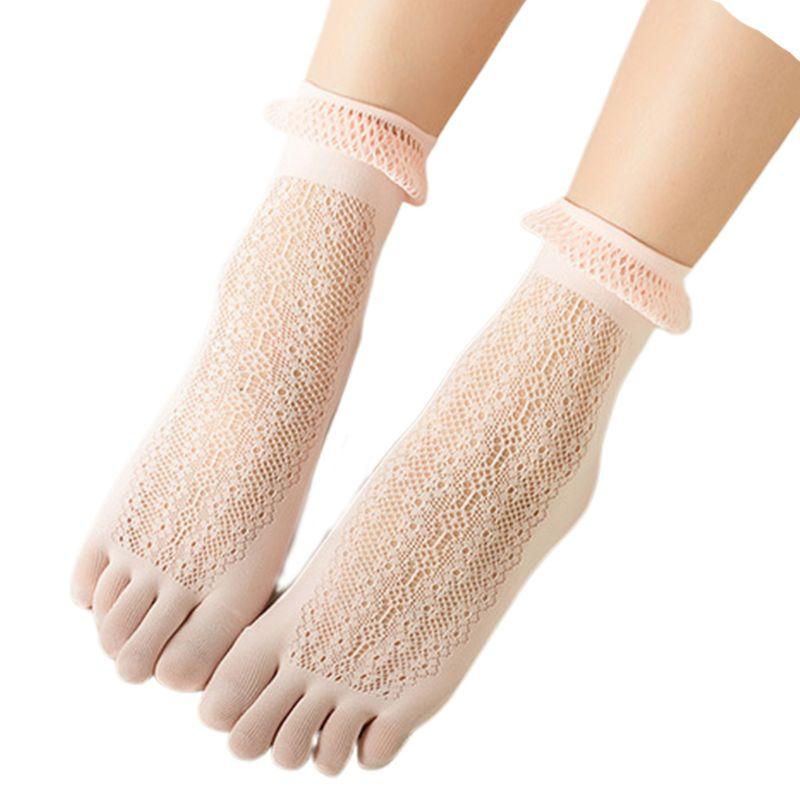Носки с пятью пальцами, женские летние кружевные чулки с дырками, модные носки с ворсом
