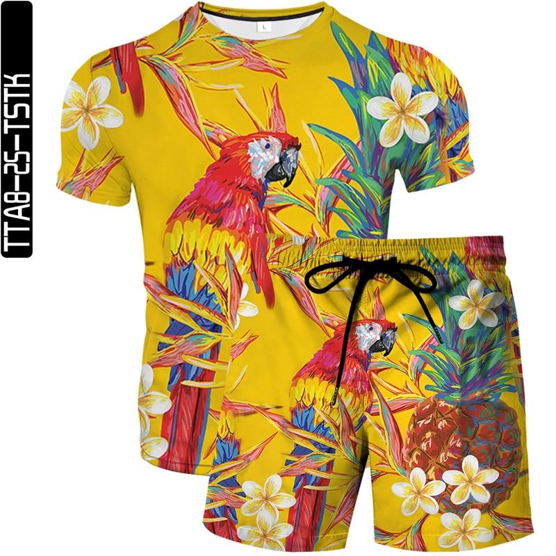 Summer Fashion Men's 3D Printed Beach Pants Quick-drying Swimming Shorts + European Size Unisex Animal T-Shirt Set S-6XL