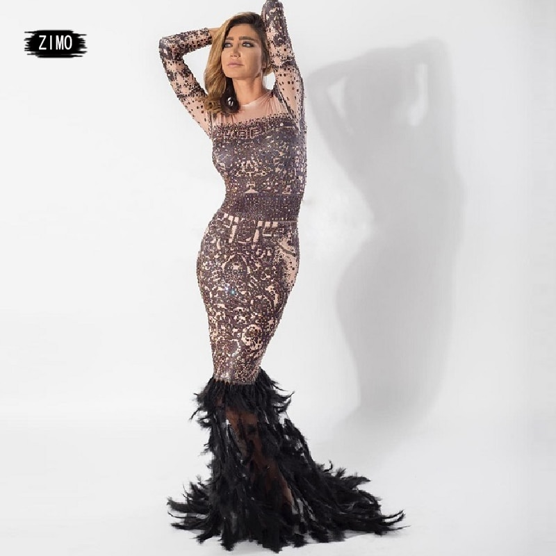 new Long Sleeves Feather Dress Mermaid dance Customes sexy women Stage Wear Birthday Celebrate dress