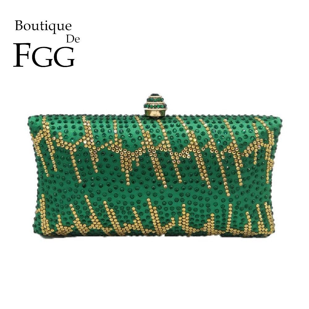 Boutique De FGG Green Rhinestones Women Clutches Evening Bags Hard Case Wedding Party Ladies Purses and Handbags Luxury Designer