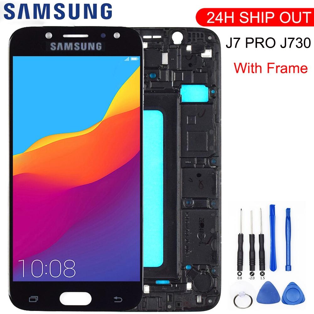 Nuevo para Samsung Galaxy J7 Pro 2017 J730 SM-J730F J730FM/DS J730F/DS J730GM/DS pantalla LCD + marco de montaje de digitalizador de pantalla táctil