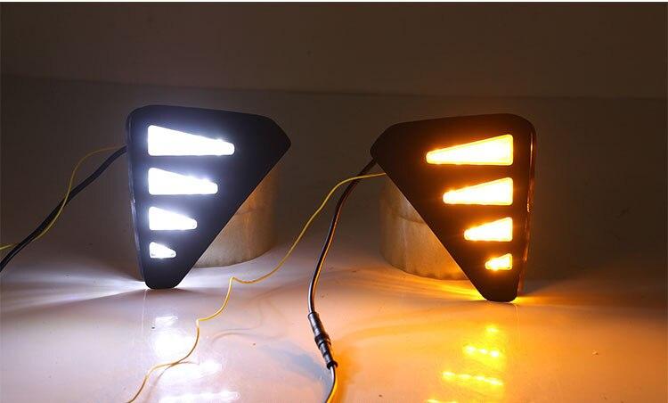 Luz led drl de circulación diurna Osmrk para Geely Emgrand GS 2019 con señal de giro amarilla móvil dinámica y luz de Noche azul