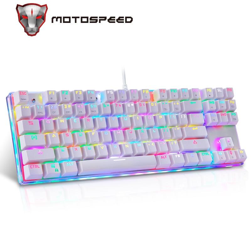 Motospeed K87S Gameing لوحة المفاتيح الميكانيكية LED مع RGB الخلفية USB السلكية 87 مفاتيح الأحمر/الأزرق التبديل ل جهاز كمبيوتر شخصي ألعاب الكمبيوتر المحمول