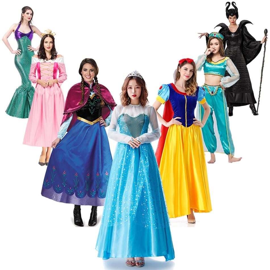 Muababy mulher elsa e anna vestido de neve branca princesa traje dormir beleza rendas retalhos jasmim festa de halloween vestido fantasia