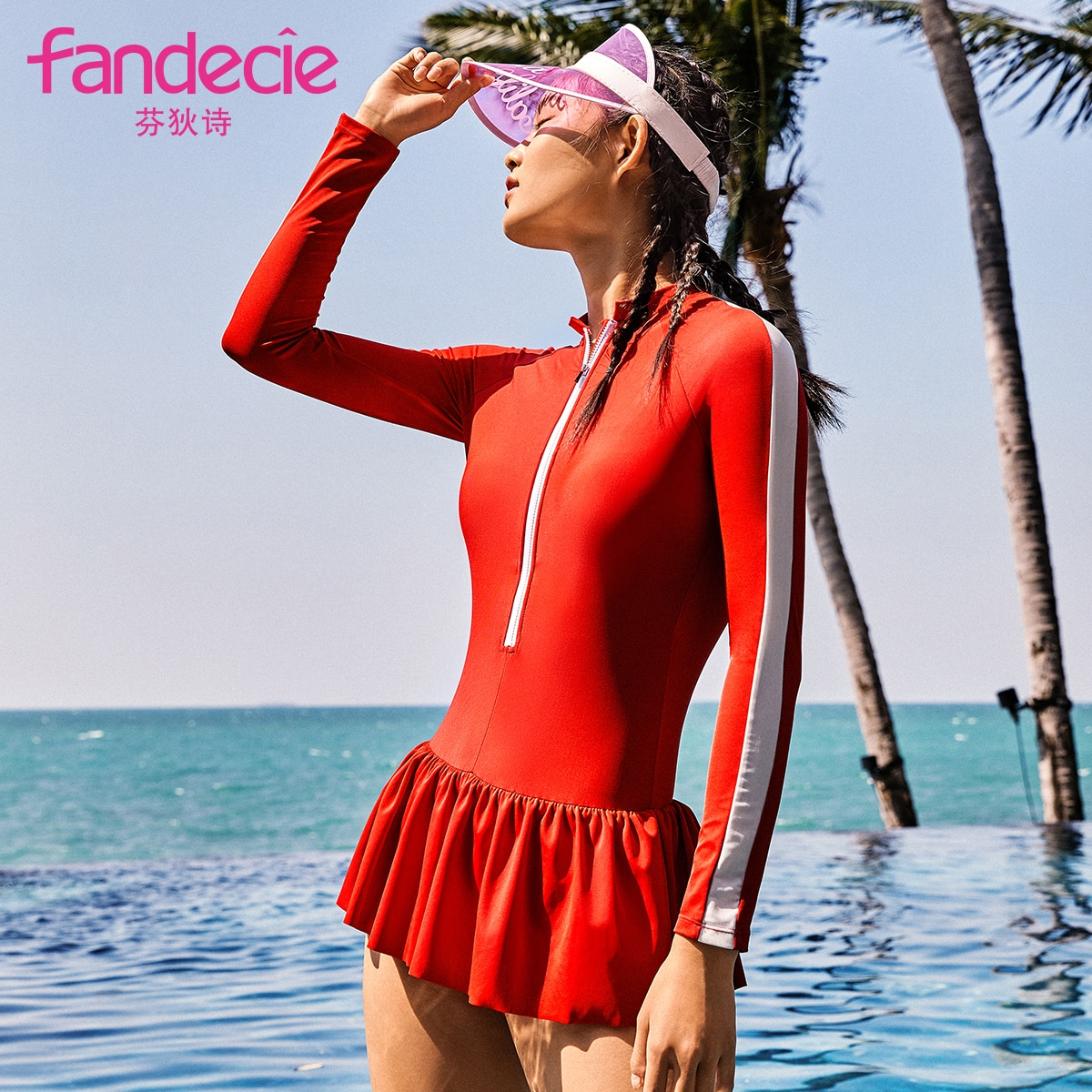 Women's Slimming Sports Diving Surfing Small Turtleneck Long Sleeve Sun Protection Dress Hot Spring Bathing Suit Fs00033
