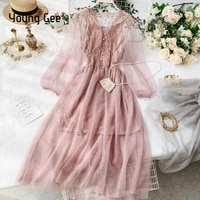 young gee sweet v neck women lace flower dress mesh bishop sleeve female gown elastic waist dresses with lining 4 color vestidos