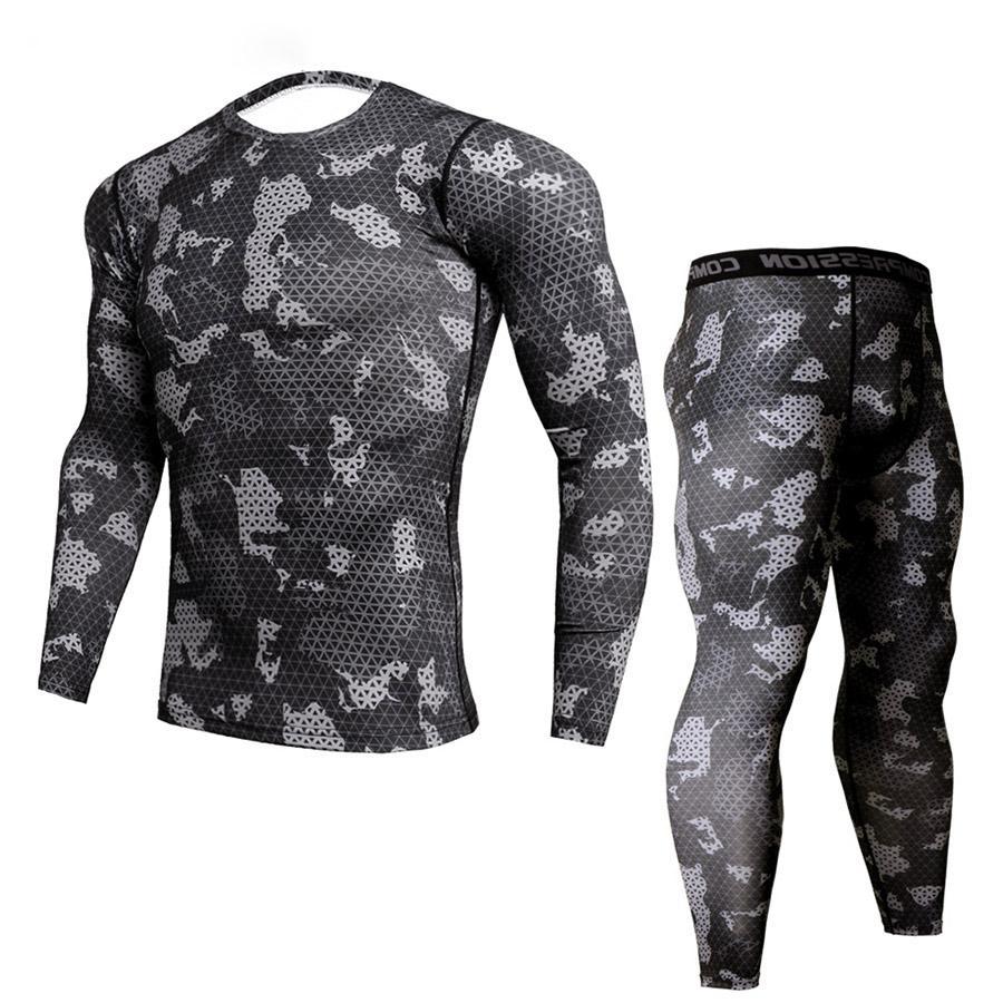 Nova aptido camo t camisa dos homens camisa de compresso 2 ps/sets esportes mma rashguard joggers leggings ginsio musculao