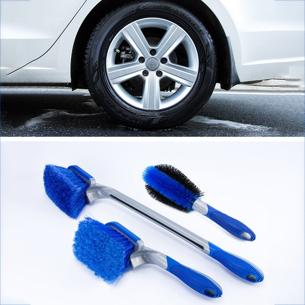 Kit de limpieza para coche, anillo para limpieza de neumáticos, pincel de mango largo de descontaminación fuerte, herramientas de limpieza de coche Simple, bolitas