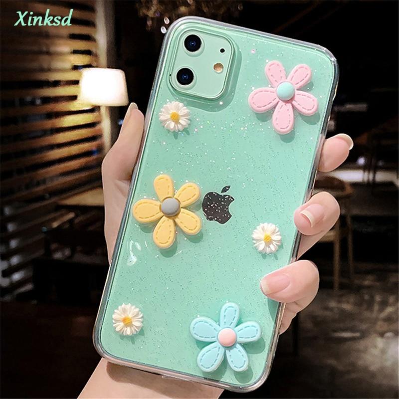 Funda de teléfono 3D flores Glitter para iPhone 11 Pro 7 8 6 6s Plus X XR XS Max SE 2020 transparente Bling suave TPU silicona contraportada
