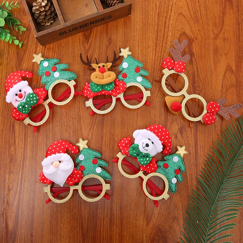 Christmas Cute Cartoon Glasses Santa Claus Snowman Christmas Decorations Santa Snowman Antler Glasses Kid's Party Toys & Hobbies