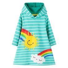Nouveau automne printemps filles coton soleil sweats à capuche robes vente chaude bébé fête à capuche robes Costume